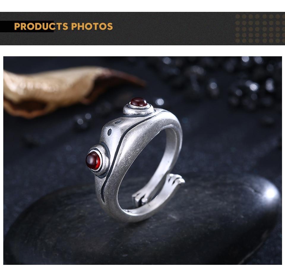 H25163811e6a44192917e9294f350c5630 Frog Ring Cute Retro Personality Creative Animal Unisex Red Garnet Stone Adjustable