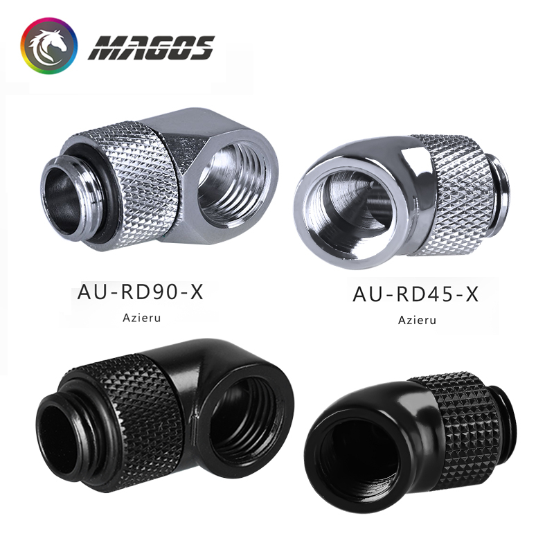 Azieru Water Cooling Angled Fitting, 45/90 Degree Rotary Joint Rotatable, AU-RD45-X/AU-RD90-X