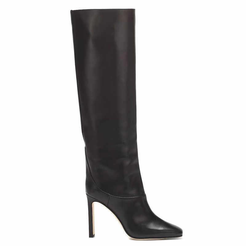 MORAZORA 2020 sıcak satış diz çizmeler üzerinde kadın kare ayak yüksek topuklu elbise parti ayakkabıları sonbahar moda uyluk yüksek çizmeler kadın