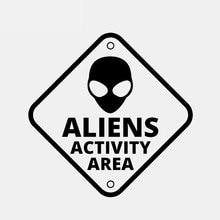Наклейки автомобиль забавный и смешной инопланетянин Зона активности НЛО забавный автомобиль наклейки украшения автомобиля аксессуары наклейки черный/белый, 15см*15см