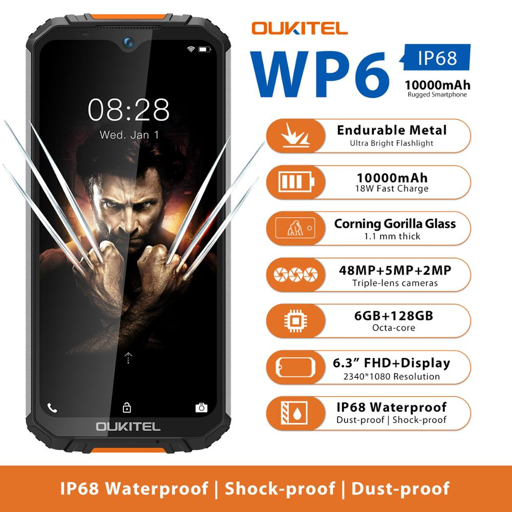 OUKITEL WP6 Ip68 Rugged Waterproof <font><b>Smartphone</b></font> MT6771T Octa Core 9V/2A <font><b>10000mAh</b></font> Battery 48MP Triple Camera 6GB 128GB Mobile Phone image