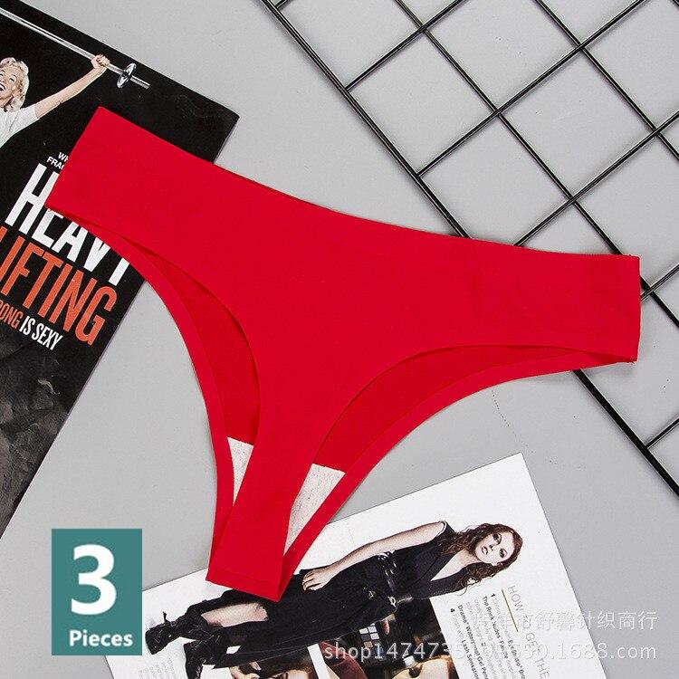 Culotte sous-vêtements de femme Sexy sans couture sport femme t-back solide doux string string pour sous-vêtements de femme glace soie 3 pièces