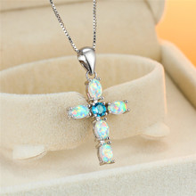 Vintage Female Blue Crystal Pendant Necklace Trendy Oval Opal Chain Necklaces For Women Classic Silver Cross Wedding Necklace stylish rhinestoned fake crystal oval necklace for women
