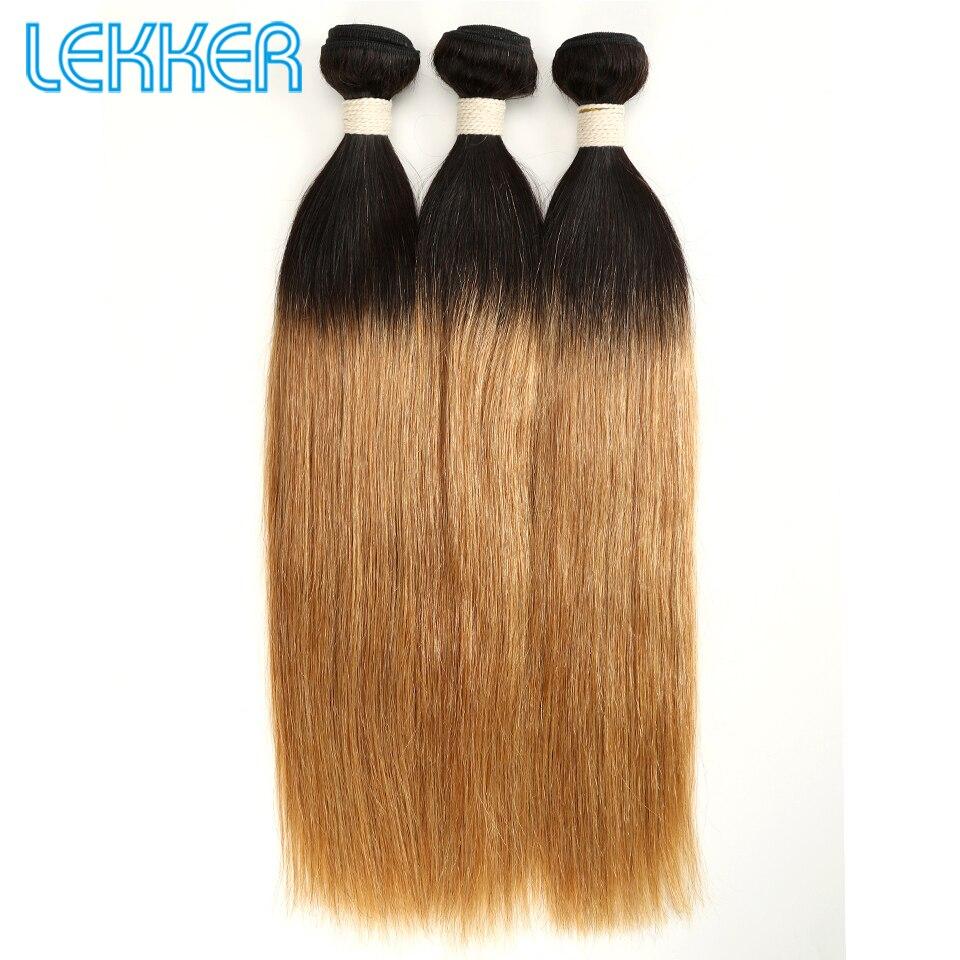 Lekker Brazilian Straight Hair 1B/27 Ombre Hair Bundles 1/3/4 Pcs Remy Human Hair