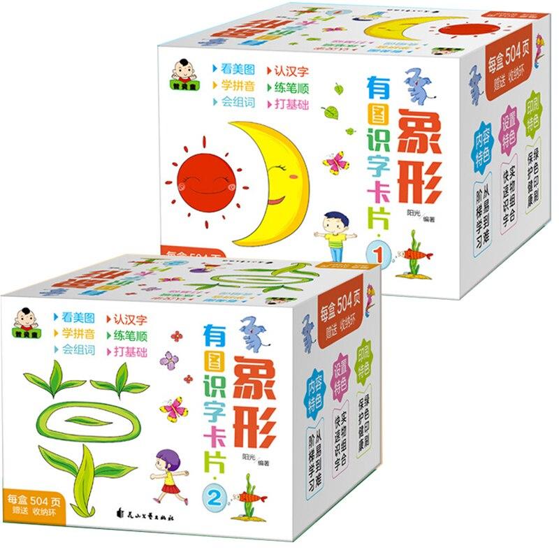 1008 Pages caractères chinois cartes Flash pictographiques 1 & 2 pour 0-8 ans bébés tout-petits enfants carte d'apprentissage 8x8cm - 2