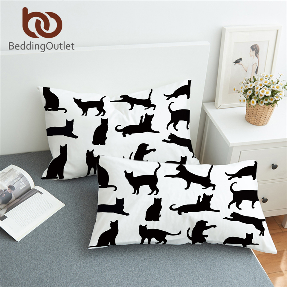 BeddingOutlet Cute Cats Pillowcase Cartoon Black <font><b>Pillow</b></font> <font><b>Case</b></font> for Kids Watercolor Pet Bedding Animal <font><b>Pillow</b></font> Cover 2pcs <font><b>50x90cm</b></font> image
