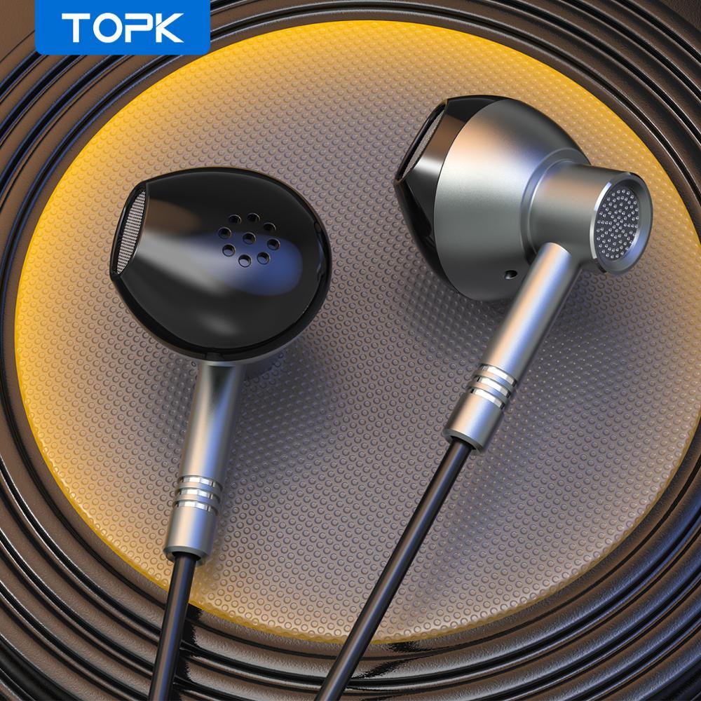 TOPK wysokiej jakości przewodowe słuchawki douszne metalowe słuchawki basowe z mikrofonem 3.5mm Jack dla iPhone Xiaomi Samsung Fone De ouvido