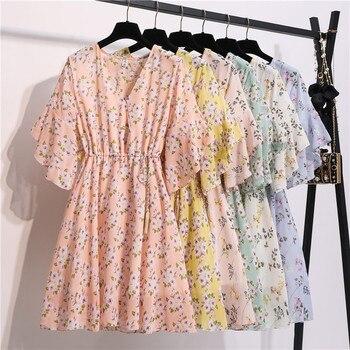 Spring Summer Chiffon Dress Women Knee Length V-Neck Print Dresses Sweet Ruffle Sleeeve Slim New Casual Drawstring Women Dress 6