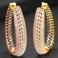LARRAURI Trendy Oval Circle Full Micro Zircon Earrings Fashion Jewelry Hoop Earrings For Women Bridal Wedding Ear Jewelry