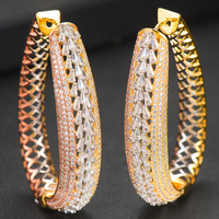 LARRAURI Trendy Oval Circle Full Micro Zircon Earrings Fashion Jewelry Hoop Earrings For Women Bridal Wedding Ear Jewelry