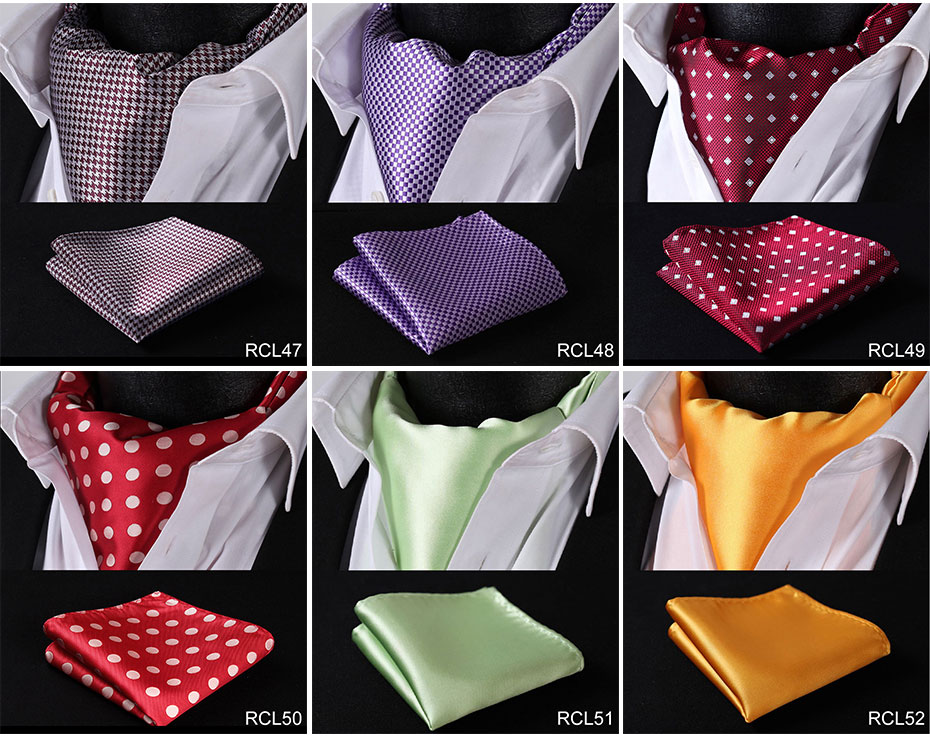 HISDERN Solid Polka Dot Cravat Woven Classic Men's Necktie Ascot Black Navy Blue Wedding Party #RCL
