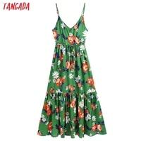 Tangada Women's Long Dress Flowers Print V Neck Strap Adjust Sleeveless 2021 Korean Fashion Lady Elegant Dresses CE310 1