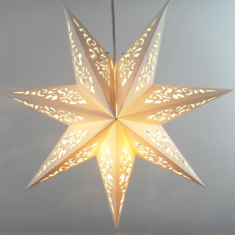 45cm Hollow Out Star Party Light Window Grille Home Bedroom Night Light Garden Hanging Decoration (White)