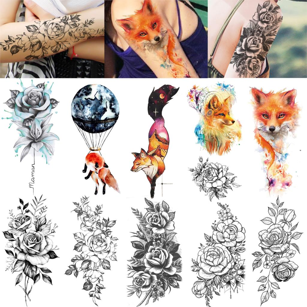 Watercolor Colorful Fox Temporary Tattoos Sticker Peony Flower Tattoo 3D Creative Body Art Waterproof  Women'S Fashion Tatoo DIY