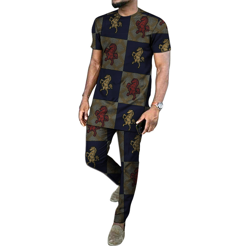 African Clothes Men's Print Dashiki Short Sleeve Shirt With Trouser Ankara Groom Suits Fashion Pant Sets Male Ankara Outfits
