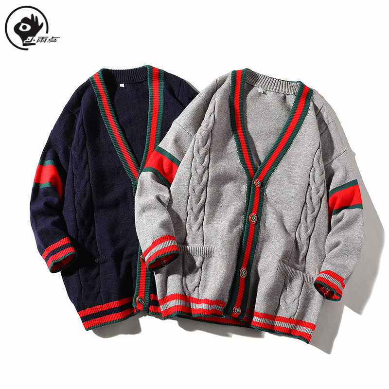 Little Raindrop Sweater Men England Style Casual Mens V-Neck Cardigan Soft Comfortable Spring Loose Classic Stripes Knitted Coat
