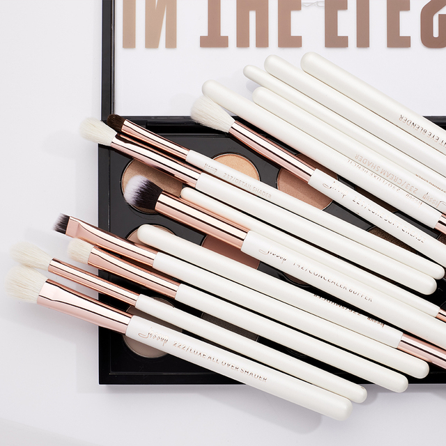 Jessup Professional Makeup Brushes Set 15pcs Pearl White/Rose Gold Eye Shadow Make up Brush Eye Liner Natural-synthetic hair 5