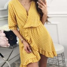 цены на Women Sexy V-neck Ruffle 2019 Summer Sundress Fashion Polka Dot Beach Mini Dress Sleeve Casual Short Loose New Vestidos  в интернет-магазинах