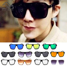 TTLIFE New Flat Top Sun Glasses Oversized Goggles Mens Square Sunglasses Women Fashion Famous Brand Rivet Black Eyewear  Oculos