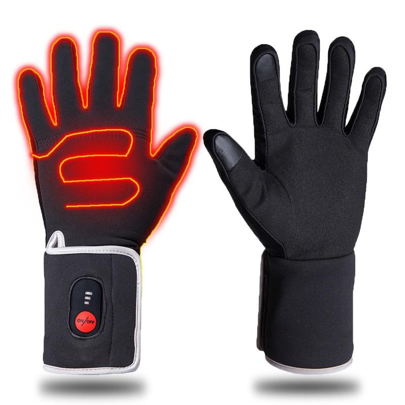 Elétrica aquecida luvas de inverno quente luvas de esqui ao ar livre esporte equitação caça térmica homem mulher 5 dedo e volta aquecimento - 2