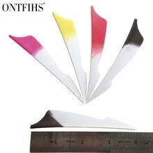 ONTFIHS 50pcs 4inch Sting RW Archery Fletches Natural Turkey Feather White & Red Black pink yellow Fletching Feathers