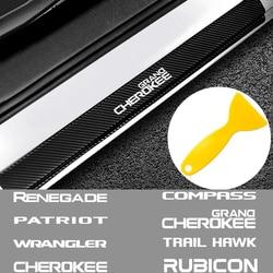 4 шт. Накладка на порог автомобиля Декор Наклейка для Jeep Ranegade Patriot Wrangler Grand Cherokee Copass Trail Hawk Rubicon