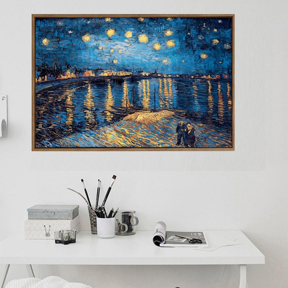Noche Estrellada Van Gogh pinturas al óleo Impresión de reproducción en lienzo de gran tamaño paisaje lienzo póster para sala de estar Arte clásico reproducción artista Magritte el beso carteles e impresiones lienzo arte pintura cuadros de pared para la decoración del hogar