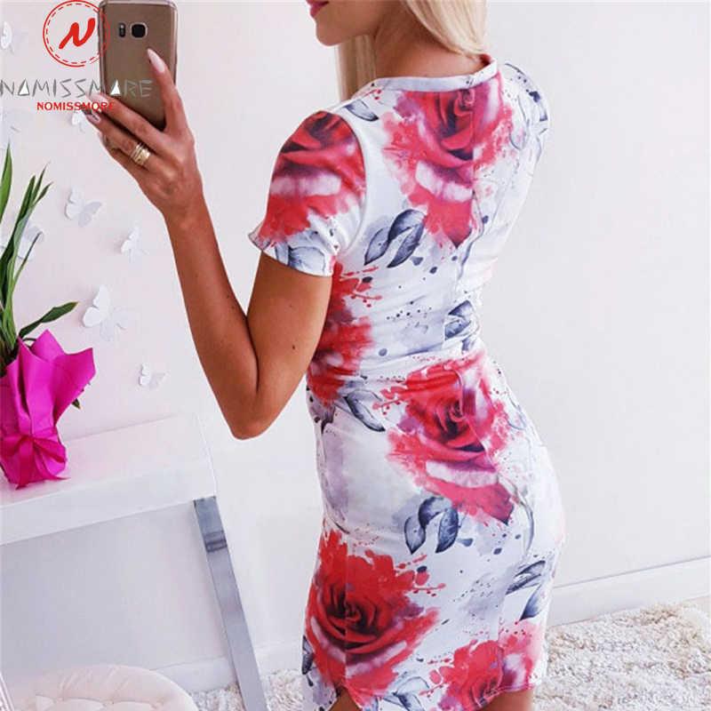 Elegante Vrouwen Slanke Heupen Dress Patchwork Ontwerp Korte Mouw O-hals Flower Print Lady Zomer Party Streetwear Bodycon Jurk
