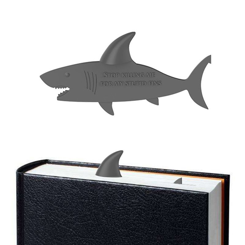 Novelty Creative 3D Shark Fin Personal Bookmark Page Marker For Book Office Supplies Student Stationery Prize Gift