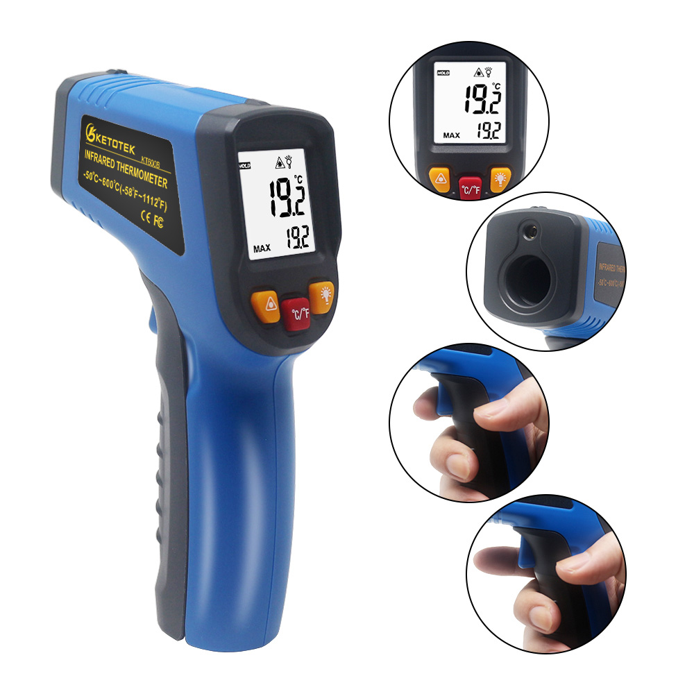 KETOTEK Handheld Non Contact Infrared Thermometer with Digital LCD Display and Backlight