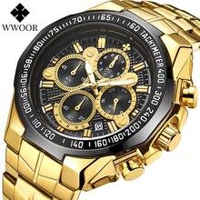 WWOOR свободного покроя спортивные часы мужчины золото черный большие часы роскошные водонепроницаемый военные наручные часы человек хронограф мода Reloj Хомбре