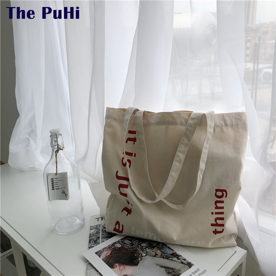 Canvas Bag Tote Women Letters Print Female Cotton Cloth Shoulder Bag Reusable Handbags High Capacity Accept Cotton Shopping Bag