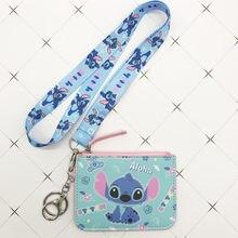 Disney Stitch PU coin torebka posiadacz karty brelok smycz do kluczy karta posiłek autobus etui na karty portmonetka Mickey mouse dokument torba na karty