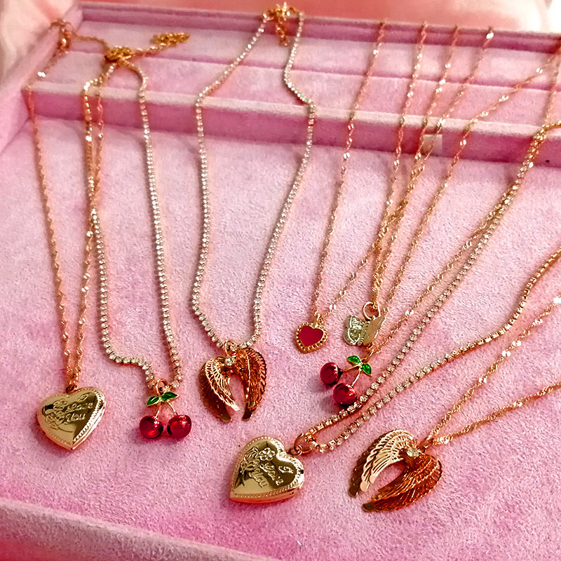 `Flatfoosie Gold Color Heart-shaped Pendant Necklace For Women Fashion Crystal Clavicle Chain New Design Jewelry Friendship Gift