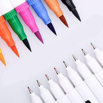 Colors FineLiner Dual Tip Brush Pen Drawing Painting Watercolor Art Marker Pens  felt pens manga School Supplies brushpen set 1pcs colored art markers dual brush marker pen drawing pen manga marker design pens art painting pens school stationery 96 color