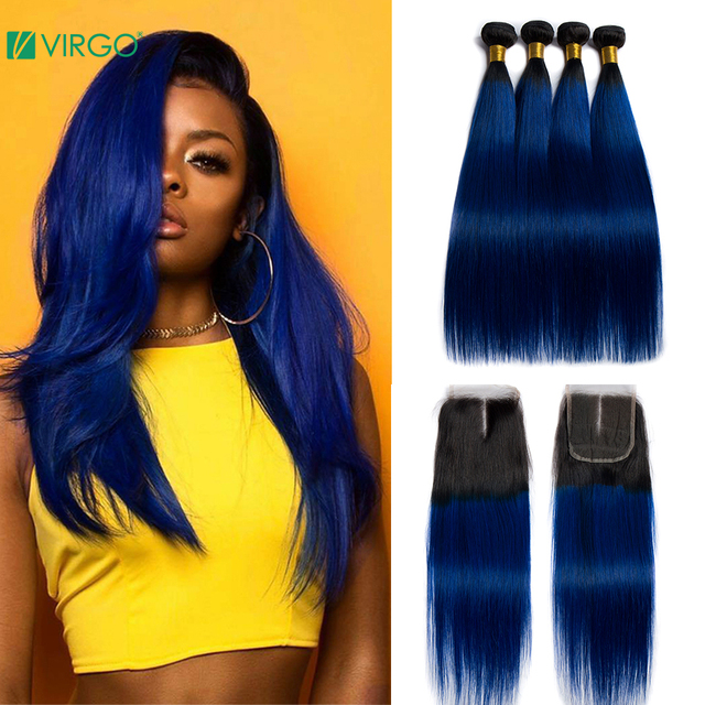 $ US $77.20 Virgo Hair Ombre Bundles With Closure 1B/Blue Two Tone Human Hair 3 Pcs Brazilian Straight Hair Bundles with Closure Remy Hair