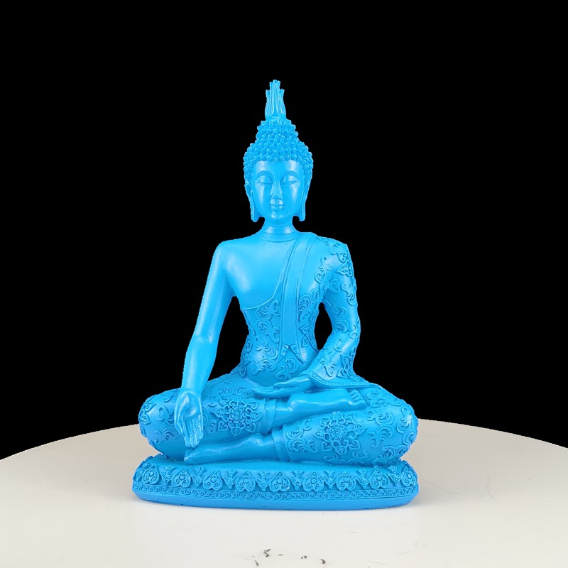Turquoise Blue Ceramic Thai Buddha Antique Effect Figurine Ornament