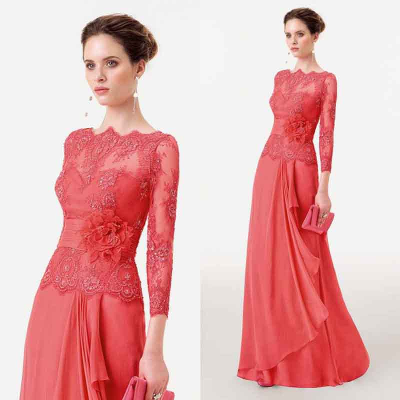Robe De Soiree Long Elegant Red Evening Formal Dress Chiffon Handmade Flower Pleat Appliques 2018 Mother Of The Bride Dresses