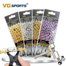 VG Sports-chaîne de vélo, 8, 9, 10, 11 vitesses, semi-creuse, 116L, chaîne de vélo de montagne, à liaison rapide, ensemble d'outils et de coupe
