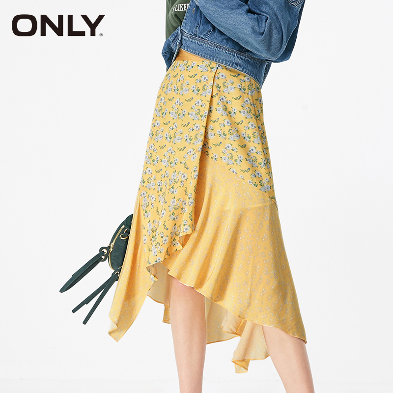 ONLY Women Irregular Chiffon Floral Skirt|119116547