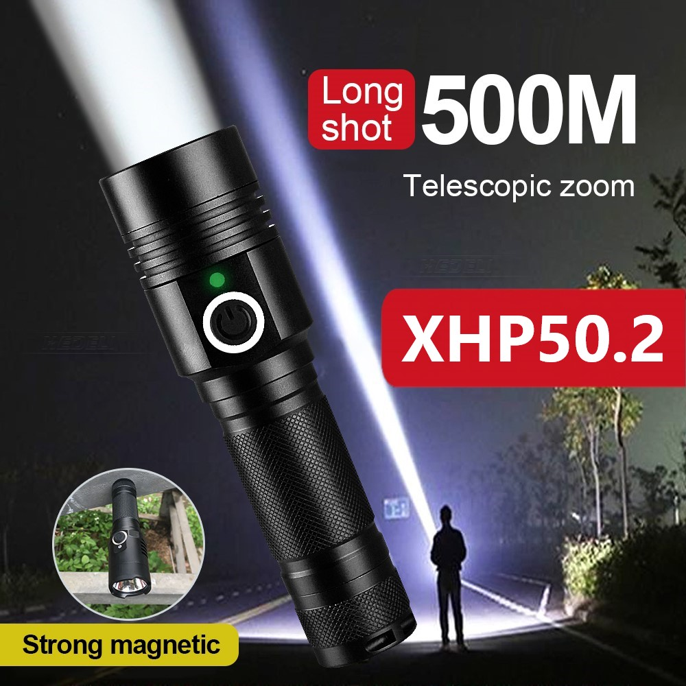 10000LM XHP50.2 powerful led flashlight 18650 rechargeable usb flashlights torch light xhp50 waterproof portable lantern lamp