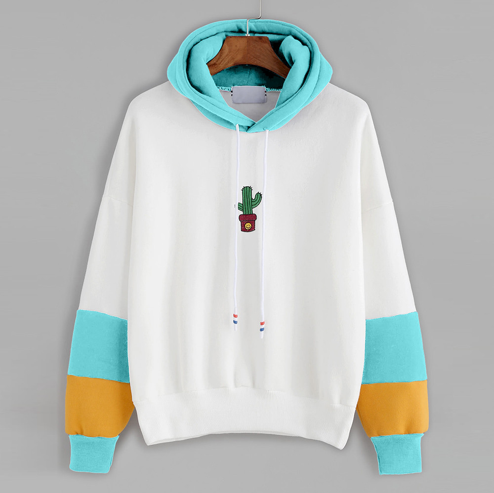 Womens Long Sleeve Cactus Print Hoodie Sweatshirt Color Matching Hooded Pullover Tops Blouse Sweat A Capuche