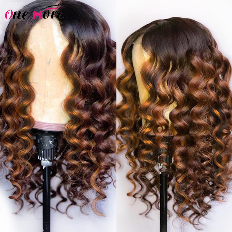 Highlight Loose Deep Wave Wig Colored Human Hair Wigs Honey Blonde Orange Ginger 99j Burgundy Ombre Lace Front Wig Pre Plucked