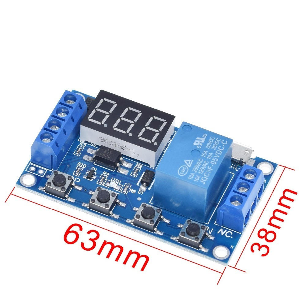 1 Channel 5V Relay Module Time Delay Relay Module Trigger OFF / ON Switch Timing Cycle 999 minutes for Arduino Relay Board