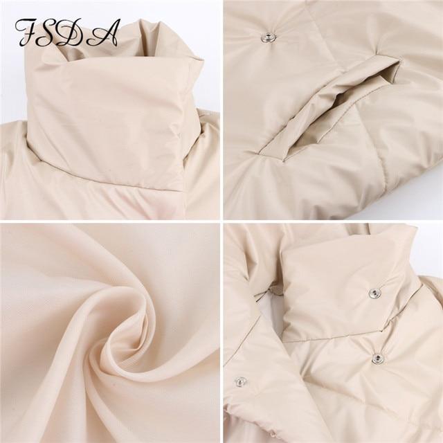 FSDA automne hiver femmes manteau veste Parkas chaud avec ceinture décontracté 2020 poche ample bulle kaki ceintures courtes vestes épais 6