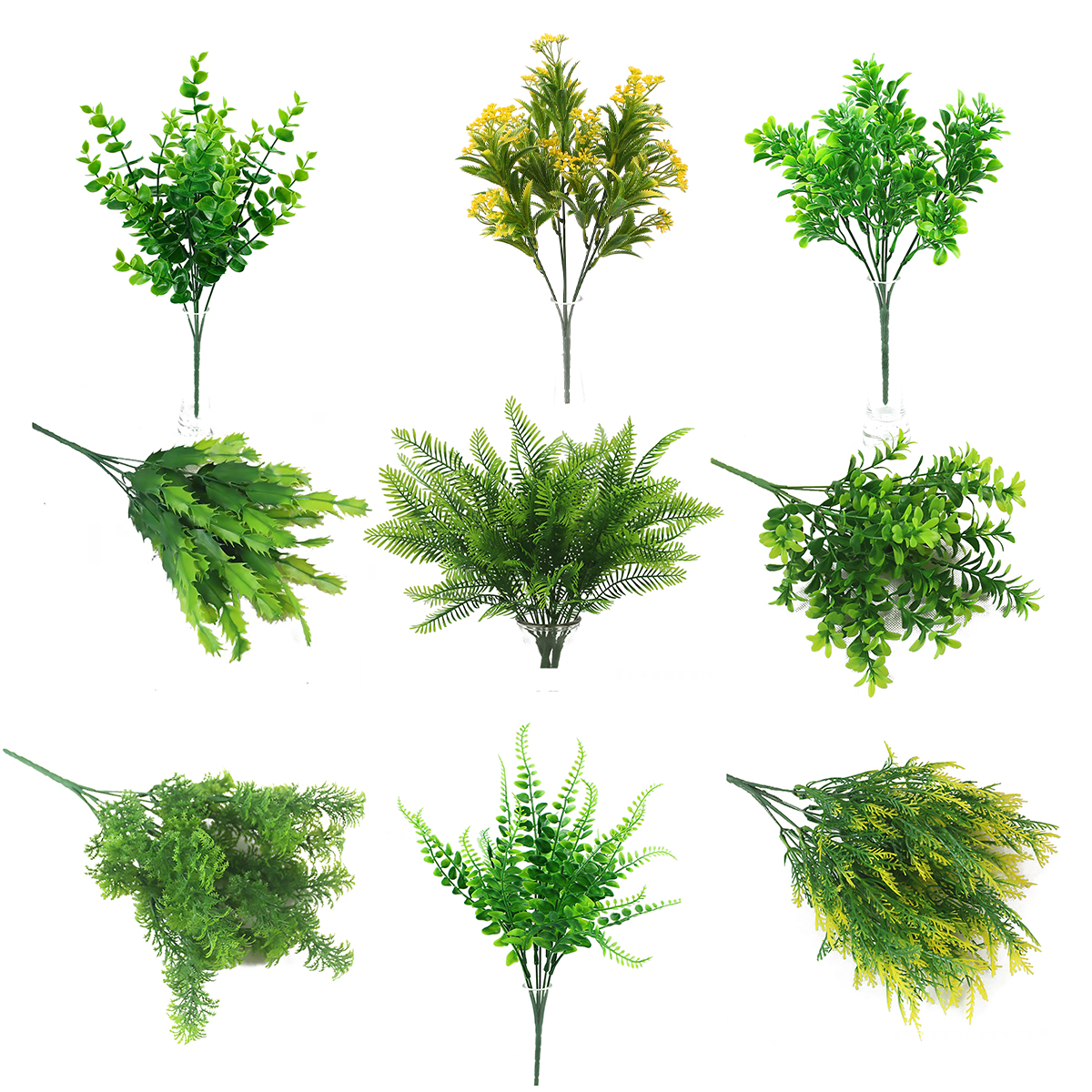 7 Fork Water Grass Plastic Artificial Plants Green Grass plastic Fern Plant Fake Flower Wedding Home Decoration Table Decors