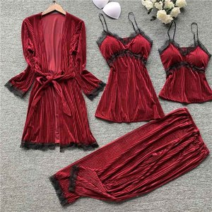 Image 5 - Gold velvet 4 pieces pajamas women sleepwear warm winter pajamas sets sexy lace robe loungewear with chest pad home service