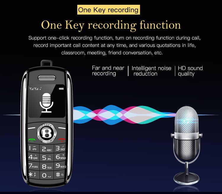 Unlocked Mini cep telefonu Bluetooth Dialer ile 0.66 inç el Mini telefon MP3 sihirli ses çift Sim küçük cep telefonu