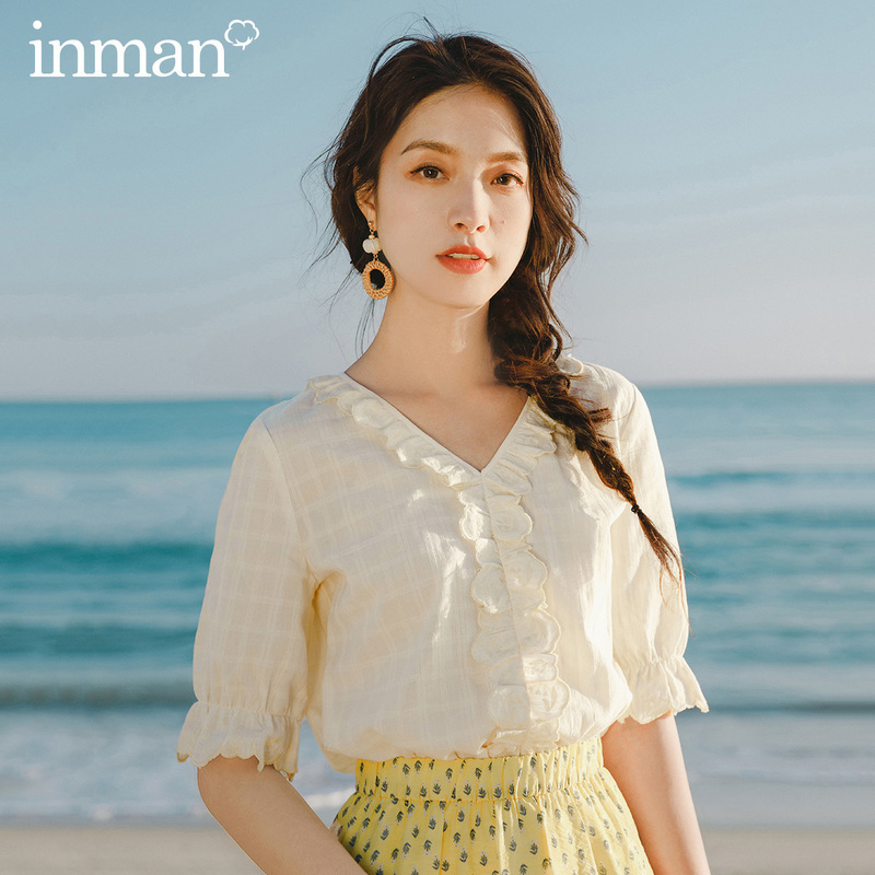 INMAN 2020 Summer New Arrival V-neck Splicing Embroidered Lace Short Sleeve Blouse