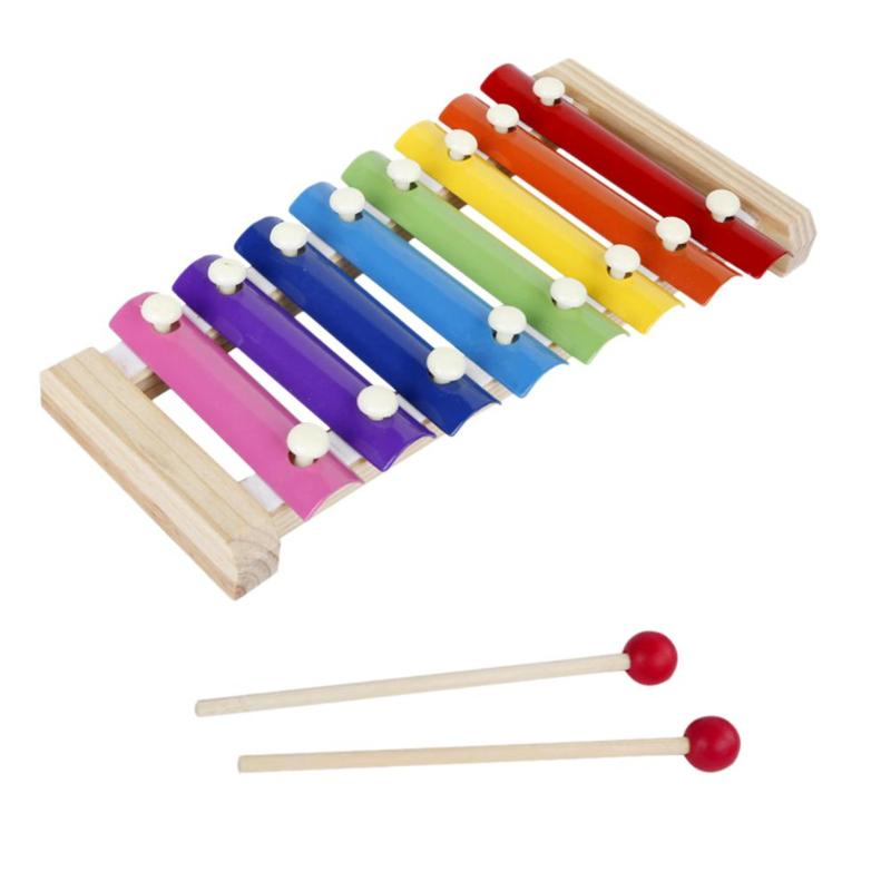8 Scales Wood Octave Knock Xylophone Pine Steel Sheet Improve Study Week Percussion Instrument Kid Music Puzzle Toy image